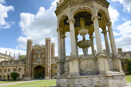 britain: The Fountain and the Great Gate in the Great Court, Trinity College, Cambridge University, Cambridge, UK