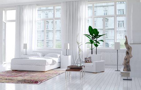 urban apartment: Modern monochromatic bedroom interior in an apartment with large view windows and a double bed alongside an exterior door, bright spacious and sunny. 3d Rendering. Stock Photo