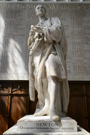 isaac newton: Statue of Isaac Newton, Designed by Louis-Francois Roubiliac in 1775, Inside Trinity College Chapel at University of Cambridge, England Editorial