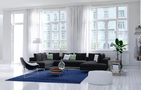 単色の白い壁、床と天井、大きなビュー ウィンドウと炭布張りの長椅子、青敷物と観葉肘掛け椅子と快適なモダンなリビング ルームのインテリア。 写真素材