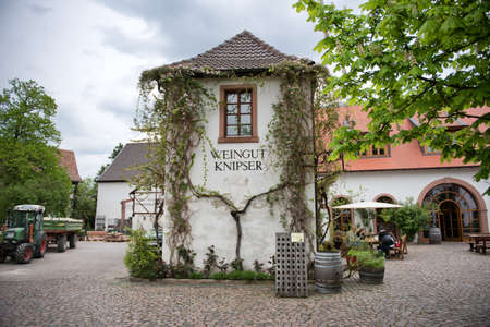 famous industries: Facade of Vine Covered Tower at Knipser Winery in Laumersheim, Germany