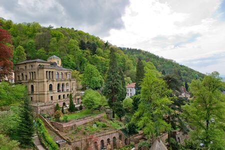 architectural exterior: Architectural Exterior of Villa Lobstein Perched on Lush Green Hillside Overlooking Heidelberg, Baden-Wurttemberg, Germany