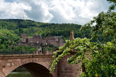 old bridge: View of Heidelberg Castle in Lush Green Hillside Overlooking Quaint Town of Heidelberg, with Old Bridge in Foreground, Baden-Wurttemberg, Germany Stock Photo