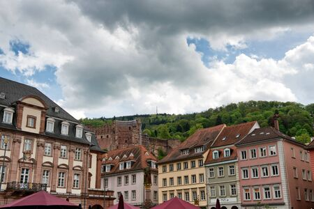 quaint: Heidelberg Castle on Lush Green Hillside Overlooking Quaint Colorful Buildings and Town Hall, Baden-Wurttemberg, Germany