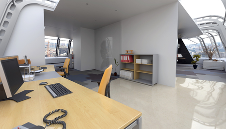 home office: Interior of Home Office in Modern Penthouse Apartment Furnished with Contemporary Desk and Computer and Sitting Room in Background. 3d Rendering Stock Photo