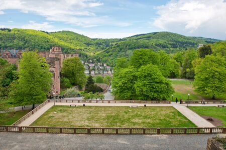 heidelberg: Overview of Castle Heidelberg and Fortress Grounds with View of Town Below Nestled in Lush Green Hillsides, Heidelberg, Baden-Wurttemberg, Germany