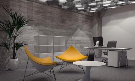 現代的なオフィスやリビング家具、小さな丸いテーブル、オフィス デスク、バック グラウンドでコンピューターの周り 2 つの明るい黄色の椅子を備
