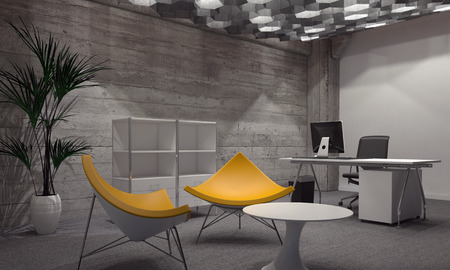 Innenraum des modernen Zimmer eingerichtet mit zeitgemäßer Büro- und Sitzmöbel, mit zwei helle gelbe Stühle um kleinen runden Tisch und Schreibtisch mit Computer im Hintergrund. 3D-Rendering