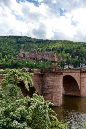 View of Heidelberg Castle in Lush Green Hillside Overlooking Quaint Town of Heidelberg, with Old Bridge in Foreground, Baden-Wurttemberg, Germany photo
