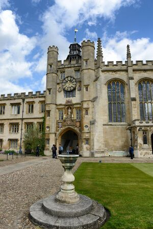 exterior shape: The historical Clock Tower of Trinity College, Cambridge University, Cambridge, UK viewed from the Great Court Editorial