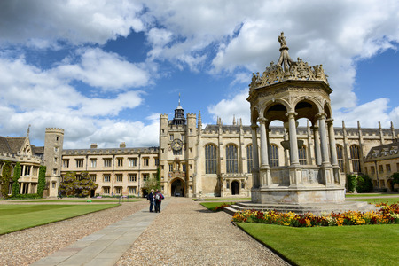 trinity: Grand Court, Trinity College, Cambridge with a view of the central fountain, Kings Gate and chapel, in a travel and tourism concept