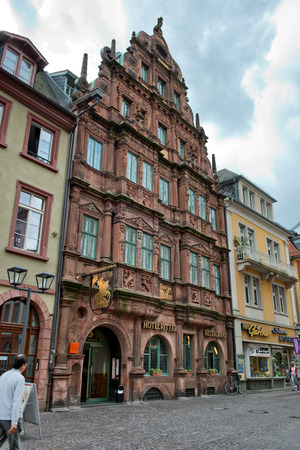heidelberg: Facade of Historic Hotel Ritter in Heidelberg, Baden-Wurttemberg, Germany Editorial
