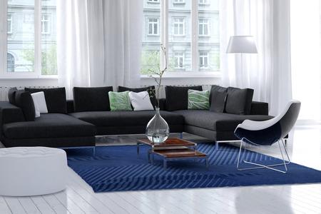 흰 벽과 나무 바닥, 필름 상 커튼 대형 창문, 그리고 진회색의 간단한 양탄자 및 코너 유닛 모듈 형 긴 의자 밝은 바람이 잘 통하는 현대 거실 인테리어 스톡 콘텐츠