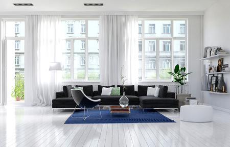 sunny: Contemporary monochromatic white living room interior with large windows, an external door and cozy seating corner with couches, an armchair and shelves of mementos, large spacious sunny. 3d Rendering.