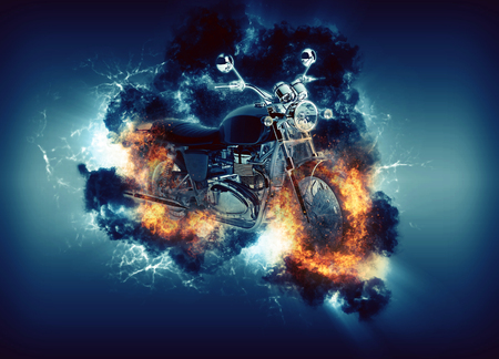 digitally generated image: Digitally generated image of cruiser motorcyle appears in cloud with fire ball, cloud illuminated from behind on navy backround