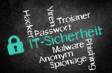 emphasizing: Simple Design for Information Technology Security Concept, Emphasizing German Texts, with Other Related Words on Black Chalkboard Stock Photo