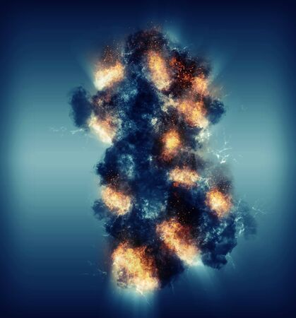 digitally generated image: Digitally generated image of cloud and fire ball illuminated from behind on navy background