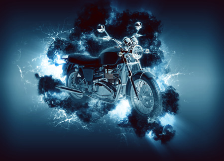 appears: Digitally generated image of cruiser motorcyle appears in cloud illuminated from behind on navy backround Stock Photo