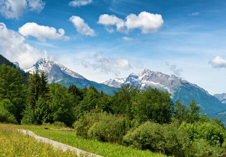 cloud capped: Pathway through grassy meadow with lush green trees, snow-capped mountain vista in backdrop beneath blue sky and white clouds Stock Photo
