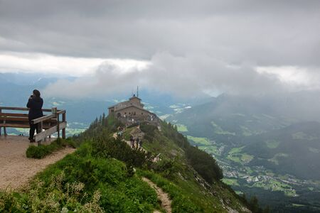 hitler: Unidentifiable Person on Scenic Lookout with View of Kehlsteinhaus or Eagles Nest, a Third Reich Tourist Attraction Presented to Hitler on 40th Birthday, Overlooking Obersalzberg, Germany