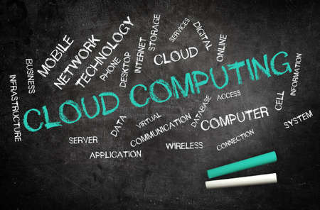 cloud technology: Word cloud graphic of cloud computing and communications technology on blackboard with white and turquoise chalk