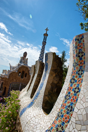 parc: BARCELONA, SPAIN - MAY 02: Architectural detail at Parc Güell (Parc Guell) in May 02, 2015 in Barcelona, Spain.