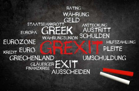 creditors: Conceptual Red Grexit Text with Other Related German Words Written on Blackboard with Two Chalks in the Lower Right Corner. Stock Photo