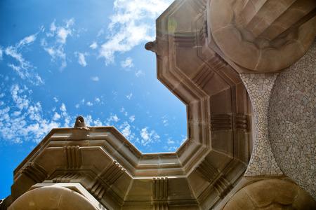 spanish looking: BARCELONA, SPAIN - MAY 02: Ceiling of Sala Hipóstila, Park Güell ( UNESCO World Heritage Site), hill of El Carmel, Grà cia (district), Barcelona, Catalonia, Spain on May 02, 2015