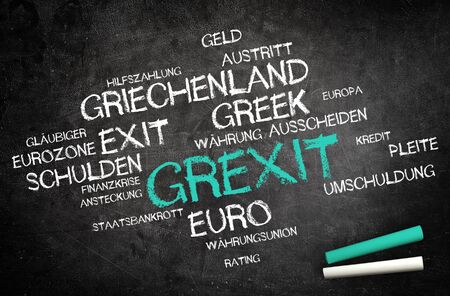 creditors: Grexit or Greek Exit Concept with Other German Related Words Written on Blackboard with Two Chalks in the Corner