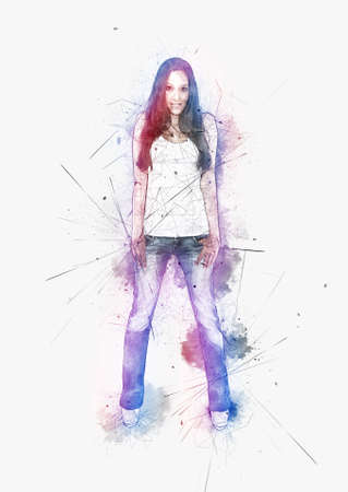 chromatic colour: Artistic portrait of a young woman with attitude standing smiling at the camera with her thumbs hooked in the pockets of her jeans surrounded by colorful paint splatter