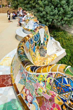 parc: BARCELONA, SPAIN - MAY 02: Main Terrace at Parc Guell in Barcelona, Spaincentral terrace, with serpentine seating round its edge in May 02, 2015 in Barcelona, Spain.