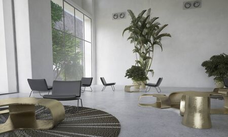 double volume: Modern designer living room with houseplants with scattered individual seating areas and a dining table lit by large view windows in a double volume space. 3d Rendering. Stock Photo