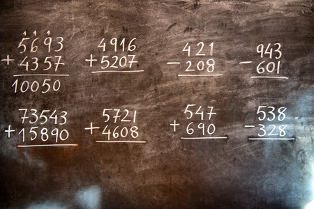 unsolved: Arithmetic operations with rational numbers, additions and subtractions, handwritten on an old chalkboard during the maths class Stock Photo
