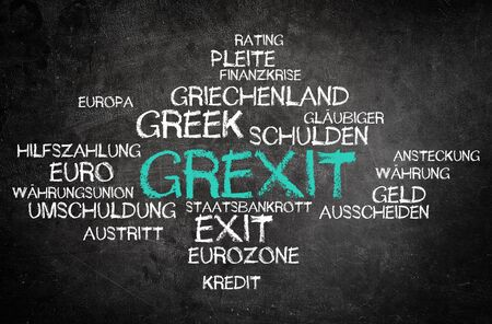 greek currency: Grexit Concept with Other Related German Words in Simple Word Tag Cloud Design Written on Black Chalkboard