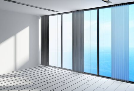 empty office: 3D Design of an Empty White Architectural Spacious Room for Office with Large Transparent Glass Windows