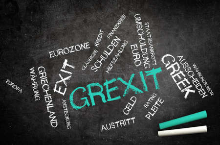 creditors: Conceptual Grexit Text, Short for Greek Exit, and Other Related Words Written on Black Chalkboard with Chalks in the Corner.