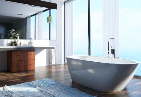 Geräumige moderne Architektur Home Bad Interior Design mit Waschbereich auf der Seite, Badewanne in der Mitte und großen Glasfenstern. Lizenzfreie Bilder