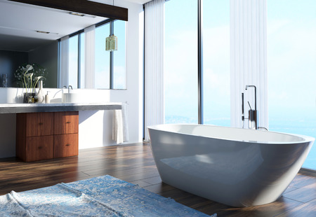 basin: Spacious Modern Architectural Home Bathroom Interior Design with Wash Area on the Side, Bathtub at the Center and Large Glass Windows.