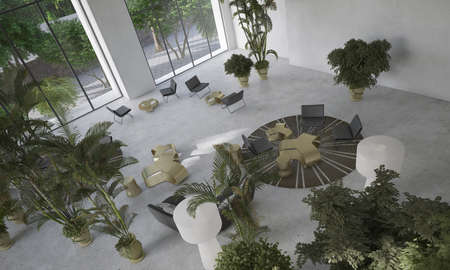 high angle view: High angle view of a double volume modern minimalist designer living-dining room with indoor potted plants and contemporary furniture. 3d Rendering.