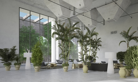view of an atrium in a building: Large modern designer double volume living room atrium interior with potted tropical palms and plants interspersed with seating areas below huge view windows. 3d Rendering. Stock Photo