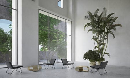 Large spacious waiting room or atrium with small seating areas and potted palms inside a double volume room with huge view windows. 3d Rendering.