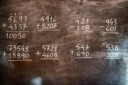 Rekenkundige bewerkingen met rationale getallen, optellen en aftrekken, met de hand geschreven op een oude bord tijdens de wiskunde klasse