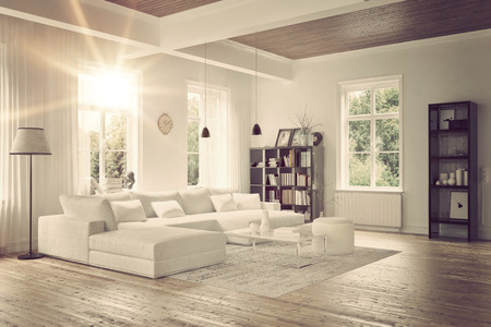 Modern loft living room interior with monochromatic white decor, a comfortable modular lounge suite and rug and accent bookcases with structural ceiling beams