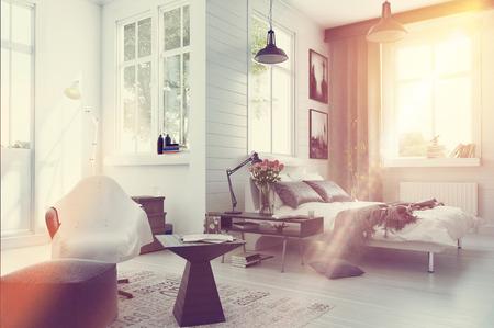 Große, geräumige moderne Schlafzimmer Interieur mit grauen und weißen Dekor, einer Doppelschlafcouch, bequemen Sitzgelegenheiten und zahlreiche Fenster