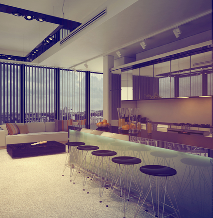 down lights: Interior of Modern Apartment Condominium, with View of Kitchen with Breakfast Bar and Sitting Room. 3d Rendering.