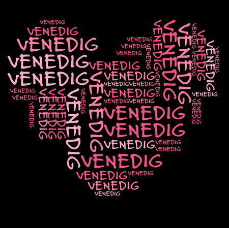 pink and black: Venice word cloud in pink letters against black background Stock Photo