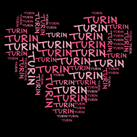 turin: Turin word cloud in pink letters against black background