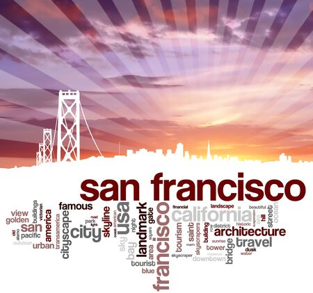 word cloud: San Francisco city skyline and word cloud