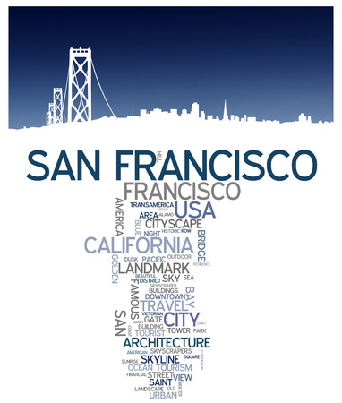 francisco: San Francisco city skyline and word cloud