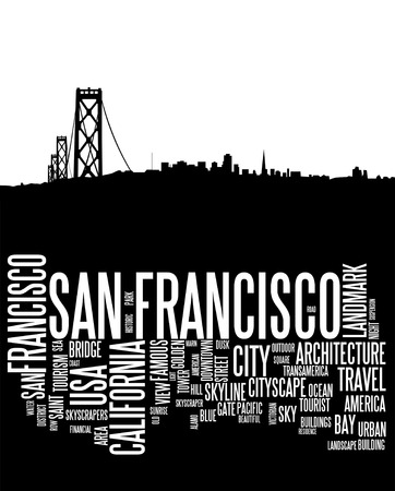 san francisco bay: San Francisco city skyline and word cloud